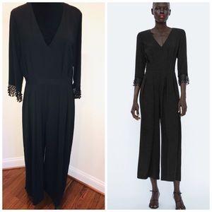 Zara Black Pleated Jumpsuit SZ XL